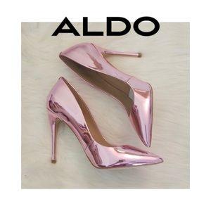 Aldo Pink Metallic Crome Heels
